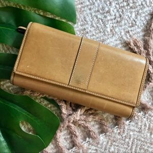 Coach | Beige Genuine Leather Trifold Wallet
